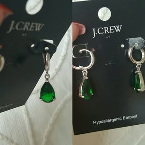 J.Crew Earnings tear drops silver green